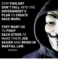 Grandma is now a member of Anonymous.: STAY VIGILANT  DON'T FALL INTO THE  GOVERNMENT'S  PLAN TO CREATE  RACE WARS.  THEY WANT US  TO FIGHT  EACH OTHER TO  MAKE THEIR JOB  EASIER AND BRING IN  MARTIAL LAW.  ANONYMOUS Grandma is now a member of Anonymous.
