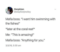 "Amazing, 16.5, and Swimming: Ste(ph)ern  @stephenjmolloy  Mafia boss: ""l want him swimming with  the fishes!""  *later at the coral reef*  Me: ""This is amazing!""  Mafia boss: ""Anything for you.""  3/3/16, 5:30 am Swimming with the fishes"