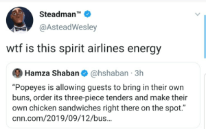 "Guests: Steadman'  TM  @AsteadWesley  wtf is this spirit airlines energy  @hshaban 3h  Hamza Shaban  ""Popeyes is allowing guests to bring in their own  buns, order its three-piece tenders and make their  own chicken sandwiches right there on the spot.""  cnn.com/2019/09/12/bus.."