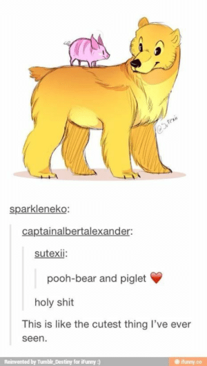 A realistic drawing if Pooh and Piglet [X-post /r/disneyomg-humor.tumblr.com: @Steain  sparkleneko:  captainalbertalexander:  sutexii:  pooh-bear and piglet  holy shit  This is like the cutest thing l've ever  seen.  Reinvented by Tumblr_Destiny for iFunny :)  ifunny.co A realistic drawing if Pooh and Piglet [X-post /r/disneyomg-humor.tumblr.com