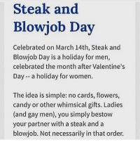 When is steak and bj day 2017