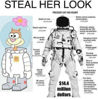 Bloods, Comfortable, and Memes: STEAL HER LOOK  PRESSURE SUIT AND HELMET  Helmet contains earphones  Heated sun visor  and microphone  $745,000  $1,100,000  Chest packe systems  supply bose  include GPS and 1MU'  $43,000  velocity and orientation  $984,000  Main parachute  Emergency reserve  handle  parachute handle  $6,000  $76,000  Altimeter  altitude  $39,000  Pressure  control  Prachute  system  cutaway handle  $2,420,000  $112,000  Mirror to  check parachute  deployment  $69,000  Capsule  Stabilizing drogue  activation button  Connector  SL893,000  $2,930,000  Four aytrs  Comfort liner  HD camera  $14.4  Gas membrane  on each leg  Restraining mesh  fire retardant/  million  thermal insulating  outer layer  5,450,000  dollars How can you see into my eyes, like open doors Leading you down into my core Where I've become so numb, without a soul My spirit's sleeping somewhere cold Until you find it there and lead it back home Wake me up, wake me up inside I can't wake up, Wake me up inside, save me, Call my name and save me from the dark, wake me up Bid my blood to run, I can't wake up Before I come undone, save me Save me from the nothing I've become Now that I know what I'm without You can't just leave me Breathe into me and make me real, bring me to life Wake me up, wake me up inside I can't wake up, Wake me up inside, save me, Call my name and save me from the dark, wake me up Bid my blood to run, I can't wake up Before I come undone, save me