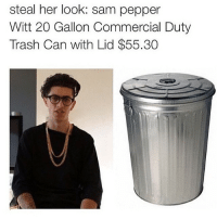 steal her look: sam pepper  Witt 20 Gallon Commercial Duty  Trash Can with Lid $55.30 😌