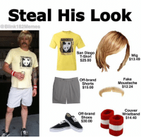 Fake, Shoes, and Tbt: Steal His Look  @Blink182Memes  SANDIEGO  San Diego  T-Shirt  Wig  $13.49  SAN DIECO  $25.00  Off-brand  Shorts  $15.00  Fake  Moustache  $12.24  Off-brand  Shoes  $30.00  Couver  Wristband  $14.40 #tbt - Jordan