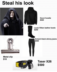 Where can I buy the laser?  Posted by Patrick Quintanilla: Steal his look  Gucci hoodie  $420  Louis Vitton leather boots  $250  Armani black skinny jeans  $400  Metal clip  $10  Taser X26  $500  X26 Where can I buy the laser?  Posted by Patrick Quintanilla