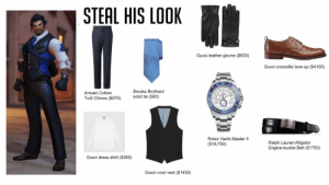 Ralph Lauren: STEAL HIS LOOK  Gucci leather gloves ($630)  Gucci crocodile lace-up ($4100)  Brooks Brothers'  Armani Cotton  Twill Chinos (5975)  solid tie ($80)  HT-MAS  Rolex Yacht-Master lI  ($18,750)  Ralph Lauren Alligator  Engine-buckle Belt ($1750)  Gucci dress shirt ($380)  Gucci wool vest ($1450)