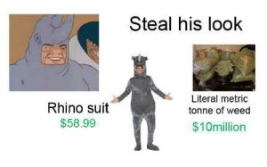 My history looks shady af now: Steal his look  Literal metric  Rhino suit  tonne of weed  $58.99  $10million My history looks shady af now