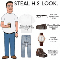 "<p><a href=""https://twitter.com/MacCocktail/status/808866512652091392"">@MacCocktail</a></p>: STEAL HIS LOOK  Tom Ford  Square frame  $285  Maison Margiela  Cotton Jersey T-shirt  $140  Maison Margiela  Leather belt  $365  Omega  De Ville Trésor  $10,150  Gucci  Denim Jeans  Ralph Lauren  Leather boots  $1,265 <p><a href=""https://twitter.com/MacCocktail/status/808866512652091392"">@MacCocktail</a></p>"