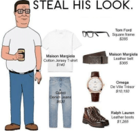 Cats, Dank, and Ralph Lauren: STEAL HIS LOOK  Tom Ford  Square frame  $285  Maison Margiela  Maison Margiela  Leather belt  Cotton Jersey T-shirt  $365  $140  Omega  De Ville Trésor  $10, 150  Gu  Denim Jeans  Ralph Lauren  Leather boots  S1,265 ~Junky Cat