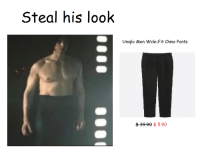 Uniqlo, Chino Pants, and Fit: Steal his look  Uniqlo Men Wide-Fit Chino Pants  $399 $ 5.90 <p>Interesting&hellip;</p>