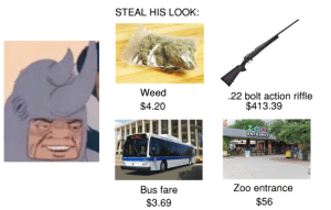 Weed, Dank Memes, and 4 20: STEAL HIS LOOK:  Weed  .22 bolt action riffle  $413.39  $4.20  ENTRANCE  Clean Air Hibid Bcic  RELIABLE  Zoo entrance  Bus fare  $56  $3.69 Maybe a knife too?