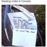 """<p>Canadian thief via /r/memes <a href=""""http://ift.tt/2rmCS5G"""">http://ift.tt/2rmCS5G</a></p>: Stealing a bike in Canada  PoLanIS  T I THE FINAL  CHAPTEA OF AN x foAT  VELLED KAMIAAE  SMOOTH KIDE THo  AREAT GIKE CHOICE FAm <p>Canadian thief via /r/memes <a href=""""http://ift.tt/2rmCS5G"""">http://ift.tt/2rmCS5G</a></p>"""