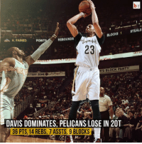 Anthony Davis' video game numbers aren't enough as the Pelicans lose to the Nuggets 118-111 in 2OT 🏀😔: STEALS  BLOCKG 1 REBOUNDS  K. FARIED POINT  23  'S BLOCK PARTY  DAVIS DOMINATES, PELICANS LOSE IN 20T  36 PTS, 14 REBS, 7 ASSTS, 9 BLOCKS Anthony Davis' video game numbers aren't enough as the Pelicans lose to the Nuggets 118-111 in 2OT 🏀😔