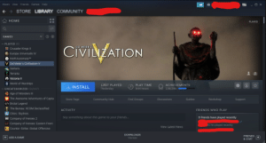 With the ability to change the logos on steam, my friend's creation...: Steam View Friends  Games Help  + → STORE LIBRARY COMMUNITY  НOME  PLAYED  GAMES  - PLAYED (8)  CIVILIZATION  SID MEIER'S  * Crusader Kings II  Europa Universalis IV  NieR:Automata™  V Sid Meier's Civilization V  Stellaris  Terraria  O Victoria I   T World of Warships  PLAY TIME  LAST PLAYED  ACHIEVEMENTS  4, INSTALL  - UNCATEGORIZED (51/147)  644 hours  Yesterday  138/286  O Age of Wonders III  The Awesome Adventures of Capta  Store Page  Community Hub  Find Groups  Guides  Workshop  Support  Discussions  €) Brütal Legend  The Bureau: XCOM Declassified  ACTIVITY  FRIENDS WHO PLAY  I Cities: Skylines  6 friends have played recently  Say something about this game to your friends...  COK2 Company of Heroes 2  EF Company of Heroes: Eastern Front  31 hrs played recently  View Latest News  KGO Counter-Strike: Global Offensive  DOWNLOADS  FRIENDS  (+)  & CHAT  + ADD A GAME  Manage With the ability to change the logos on steam, my friend's creation...