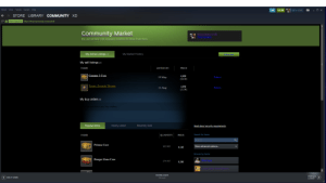 Community, Friends, and Squad: Steam View Friends  Games Help  106  XD 4.366E  STORE LIBRARY COMMUNITY XD  C Valve Corp [US]  https://steamcommunity.com.im arket/  Community Market  Wallet balance 4,36€  iw Inentor  Buy and sell items with community members for Steam Wallet funds.  My Active Listings (2)  My Market History  Sell an item  My sell listings (2)  NAME  LISTED ON  PRICE  Gamma 2 Case  0,03€  (0,01€)  19 May  Remove  Taunt: Zoomin' Broom  4,05€  11 Aug  Remove  |(3,53€)  My buy orders (0)  not have any buy orders.  Popular Items  Newly Listed  Recently Sold  Read about security requirements  Search for Items  NAME  QUANTITY  PRICE  Search  Prisma Case  Show advanced options...  162.883  0,54€  Browse by Game  Danger Zone Case  Black Squad  174.467  0,20€  GO  DOWNLOADS  FRIENDS  & CHAT  ADD A GAME  Manage  :: I was just on steam, i didn't expect this gore