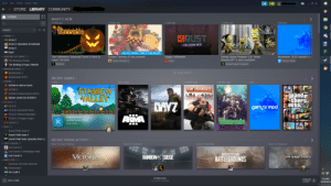 """Community, Friends, and Halloween: Steam View Friends Games  Help  X  9  STORE LIBRARY COMMUNITY  НОМЕ  WHAT'S NEW  2 weeks ago  1 week ago  1 week ago  2 weeks ago  Yesterday  Tercaria  GAMES  -ARMA (4)  BPUST  ARArma 2  Arma 2: Operation Arrowhead  HALLOWEEN 2819  Arma 3  oA7 DayZ  Oct 15, 7:59 PM - Nov 7, 1:00 PM EDT  BINDING OF ISAAC (2)  November 2019 Update is co  The Halloween Seasonal Event is Here to  Scream Fortress XI has arrived!  Kerbal Space Program 1.8: """"Moar  Boosters!!!"""" is now available!  Happy Halloween  Haunt Terraria!  The Binding of Isaac  Team Fortress 2  9 Garry's Mod  Rust  Terraria  Kerbal Space Program  The Binding of Isaac: Rebirth  -BORDERLANDS (2)  ADD SHELF  Borderlands 2  Borderlands GOTY  RECENT GAM ES  -DOOM (4)  This week  2 weeks ago  3 weeks ago  Today  July  DOOM II: Hell on Earth  TEAM FORTRESS 2  STARDEW  VALLEY  DOOM 3  grand  StheFt  auto  DOOM 3: Resurrection of Evil  Master Levels for DOOM II  -F.E.A.R. (5)  MYZ  garry's mod  F.E.A.R.  F.E.A.R.: Extraction Point  F.E.A.R.: Perseus Mandate  ARMA  TIME PLAYED  F.E.A.R. 2: Project Origin  Verraria  Last two weeks: 15 hrs  X  r F.E.A.R. 3  Total: 28 hrs  - GTA (3)  IV Grand Theft Auto IV  Grand Theft Auto V  IV Grand Theft Auto: Episodes from Li  RECENT FRIEND ACTIVITY  -JUST CAUSE (3)  New To Your Friends  Back In Rotation  Back In Rotation  Back In Rotation  Just Cause 2  Just Cause 2: Multiplayer Mod  PLAYERUNKNOWN'S  VICTORIA  RAINEOWSA SIEGE  JC Just Cause 3  PLANETSIDE  BATTLEGROUNDS  - MISC FPS (15)  Amnesia: The Dark Descent  Dishonored  FC3 Far Cry® 3  DOWNLOADS  7:35 PM  FRIENDS  & CHAT  ADD A GAME  3 of 3 Items Complete  10/30/2019 Thanks, i hate this new layout."""