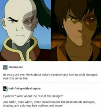 Memes, Hair, and Dragons: steambend  do you guys ever think about zuko's eyebrow and how much it changed  over the series like  indi-flying-with-dragons  Eyebrow? What about the rest of the design?!  Jaw width, neck width, other facial features like nose mouth and eyes,  shading and coloring, hair outlines and more! My babe *-* . . . . . . .