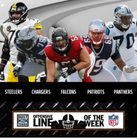 Who had the best offensive line of Week 9? https://t.co/9FX6GoZuVP (via @FordTrucks) https://t.co/Dn963jMpZ9: STEELERS CHARGERS FALCONS PATRIOTS PANTHERS  OF THE  MEER  BUİLTİ OFFENSIVE  TOUGH Who had the best offensive line of Week 9? https://t.co/9FX6GoZuVP (via @FordTrucks) https://t.co/Dn963jMpZ9
