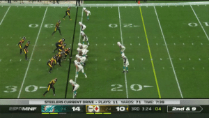 MOSSED.  @Rudolph2Mason ➡️ @TeamJuJu #HereWeGo  📺: #MIAvsPIT on ESPN 📱: NFL app // Yahoo Sports app Watch free on mobile: https://t.co/6BUh9hgbzX https://t.co/kYrpYpdLN2: STEELERS CURRENT DRIVE PLAYS: 11 YARDS: 71 TIME: 7:39  2-4 10 3RD 3:24 04  14  ESF MNF  2nd& 9  O-6 MOSSED.  @Rudolph2Mason ➡️ @TeamJuJu #HereWeGo  📺: #MIAvsPIT on ESPN 📱: NFL app // Yahoo Sports app Watch free on mobile: https://t.co/6BUh9hgbzX https://t.co/kYrpYpdLN2