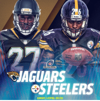 Steelers  NFL  NFL  DIVISIONAL  JAGUARS  STEELERS  Steelers  SUNDAY 1:05PMET ONCBS A Week 5 rematch...  @Jaguars vs. @steelers in the Divisional Round! #JAXvsPIT #NFLPlayoffs https://t.co/r7tTXafFWV