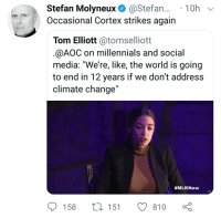 "Social Media, Millennials, and World: Stefan Molyneux. @Stefan.. . 10h  Occasional Cortex strikes again  Tom Elliott @tomselliott  @AOC on millennials and social  media. We're, like, the world is going  to end in 12 years if we don't address  climate change""  #MLKNow  158  151  810"