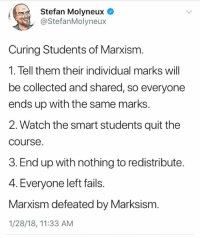 🤓 (LC): Stefan Molyneux  @StefanMolyneux  Curing Students of Marxism.  1. Tell them their individual marks will  be collected and shared, so everyone  ends up with the same marks  2. Watch the smart students quit the  course  3. End up with nothing to redistribute.  4. Everyone left fails.  Marxism defeated by Marksism.  1/28/18, 11:33 AM 🤓 (LC)