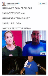 He is the President and they still choose to do this.. ... I can't wait until Jan 20th.: Stefan Molyneux  @StefanMolyneux  MAN SAVES BABY FROM CAR  CNN INTERVIEWS MAN  MAN WEARS TRUMP SHIRT  CNN BLURS LOGO  ONLY 6% TRUST THE MEDIA  Follow He is the President and they still choose to do this.. ... I can't wait until Jan 20th.