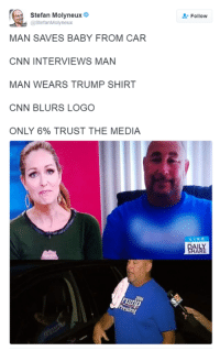 Only the dishonest media creates fake news.: Stefan Molyneux  @StefanMolyneux  MAN SAVES BABY FROM CAR  CNN INTERVIEWS MAN  MAN WEARS TRUMP SHIRT  CNN BLURS LOGO  ONLY 6% TRUST THE MEDIA  Follow  LIV Only the dishonest media creates fake news.