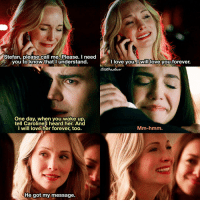 [8x16 - I Was Feeling Epic] I felt so bad for Caroline because she lost the love of her life on her WEDDING DAY and she will literally love him forever since she's immortal 😭😭😭 Steroline deserved better 💔 ⠀ Comment a ❤ if you love Steroline! ⠀ My edit give credit [ steroline carolineforbes stefansalvatore tvd thevampirediaries vampirediaries tvdforever 8x16|160.5k]: Stefan, please call me. Please. I need  you to know that I understand.  I love will  you forever.  One day, when you wake up.  tell Caroline I heard her. And  I will love her forever too.  Mm-hmm  He got my message. [8x16 - I Was Feeling Epic] I felt so bad for Caroline because she lost the love of her life on her WEDDING DAY and she will literally love him forever since she's immortal 😭😭😭 Steroline deserved better 💔 ⠀ Comment a ❤ if you love Steroline! ⠀ My edit give credit [ steroline carolineforbes stefansalvatore tvd thevampirediaries vampirediaries tvdforever 8x16|160.5k]