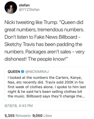 "Dishonest: stefan  @YYZStefan  Nicki tweeting like Trump. ""Queen did  great numbers, tremendous numbers  Don't listen to Fake News Billboard  Sketchy Travis has been padding the  numbers. Packages aren t sales - very  dishonest! The people know!""  QUEENNICKIMINAJ  I looked at the numbers the Carters, Kanye,  Nas, etc recently did. Travis sold 200K in his  first week of clothes alone. I spoke to him last  night & he said he's been selling clothes b4  the music. Billboard says they'll change the  8/19/18, 4:43 PM  5,355 Retweets 9,050 Likes"