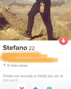 This bio will never not be funny (relatable) to me: Stefano 22  sity  O 9 miles away  sexually or fatally pls, idc at  Choke me  this point This bio will never not be funny (relatable) to me