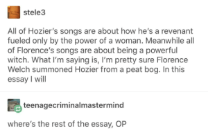 Hozier, Power, and Songs: stele3  All of Hozier's songs are about how he's a revenant  fueled only by the power of a woman. Meanwhile all  of Florence's songs are about being a powerful  witch. What I'm saying is, I'm pretty sure Florence  elch summoned Hozier from a peat bog. In this  essay I will  teenagecriminalmastermind  where's the rest of the essay, OP I'm fully onboard with this