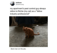 """Control, Best, and Http: stellmon  @stellmoney  my apartment's pest control guy alway:s  refers to Richie (my cat) as a """"fellow  industry professional""""  Best man on the job. I trust him via /r/wholesomememes http://bit.ly/2TaSBOC"""
