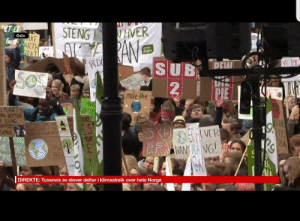 Norway, Pie, and Oslo: STENG HVER  Oslo  SUB  2  PIE  0  NG HOTTER  YOUN  NARDO  CAPRIO  VER  DIREKTE: Tusenvis av elever deltar i klimastreik over hele Norge Meanwhile at climate strike in Norway