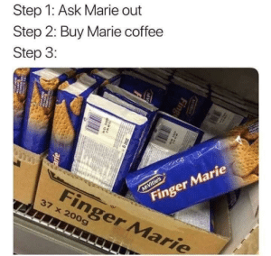 The perfect plan.: Step 1: Ask Marie out  Step 2: Buy Marie coffee  Step 3:  AP  Finger Marie  M Vitie's  Finger Marie  37 x 200g  M S  Fing  MV  200 g e  38N  arie  w The perfect plan.
