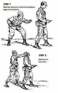 Instruction to all follower defeating imperialist savage soldiers. Thank (y): STEP 1  Wait for sentry to check his FaceBook  page on his phone.  STEP 2  Stab him in  the neck. Instruction to all follower defeating imperialist savage soldiers. Thank (y)