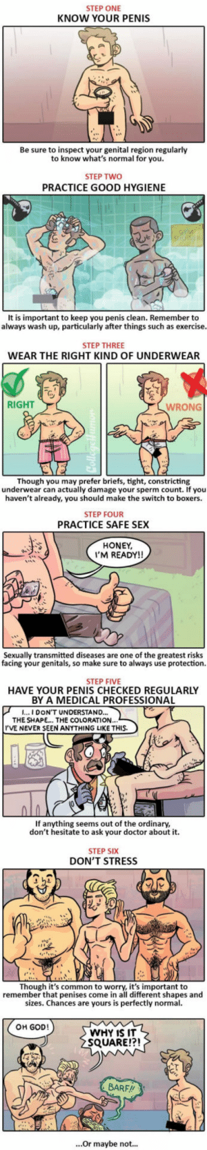 6 Steps to Maintaining a Healthy Penis: STEP ONE  KNOW YOUR PENIS  Be sure to inspect your genital region regularlyy  to know what's normal for you  STEP TWO  PRACTICE GOOD HYGIENE  It is important to keep you penis clean. Remember to  always wash up, particularly after things such as exercise  STEP THREE  WEAR THE RIGHT KIND OF UNDERWEAR  RIGHT  WRONG  Though you may prefer briefs, tight, constricting  underwear can actually damage your sperm count. If you  haven't already, you should make the switch to boxers.  STEP FOUR  PRACTICE SAFE SEX  HONEY  I'M READY!!  Sexually transmitted diseases are one of the greatest risks  facing your genitals, so make sure to always use protection.  genitals, S0  STEP FIVE  HAVE YOUR PENIS CHECKED REGULARLY  BY A MEDICAL PROFESSIONAL  CAL PROFED  I...I DON'T UNDERSTAND..  THE SHAPE.. THE COLORATION  I'VE NEVER SEEN ANYTHING LIKE THIS.  If anything seems out of the ordinary  don't hesitate to ask your doctor about it.  STEP SIX  DON'T STRESS  23  Though it's common to worry, it's important to  remember that penises come in all different shapes and  sizes. Chances are yours is perfectly normal  OH GOD!  WHY IS IT  SQUARE!?!  BARF!!  ...Or maybe not... 6 Steps to Maintaining a Healthy Penis