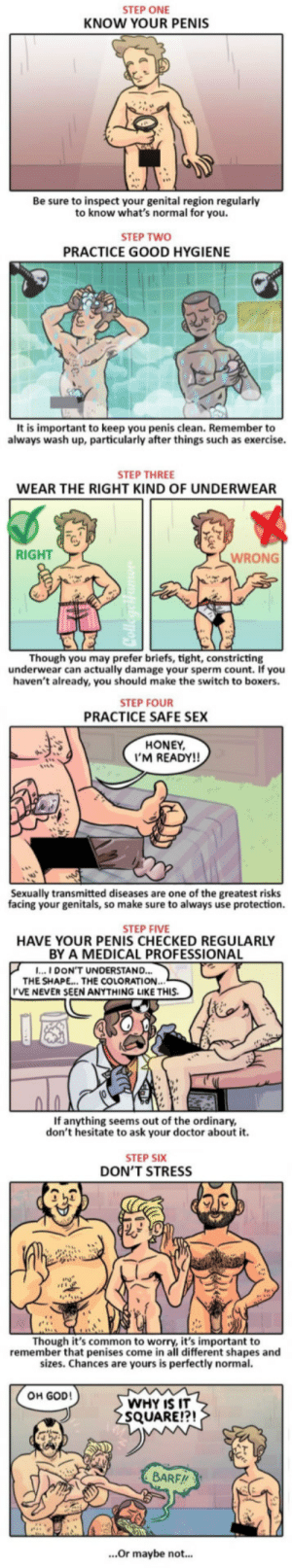 6 Things You Need To Do To Keep Your Penis Healthy: STEP ONE  KNOW YOUR PENIS  Be sure to inspect your genital region regularly  to know what's normal for you.  STEP TWO  PRACTICE GOOD HYGIENE  It is important to keep you penis clean. Remember to  always wash up, particularly after things such as exercise.  STEP THREE  WEAR THE RIGHT KIND OF UNDERWEAR  RIGHT  WRONG  Though you may prefer briefs, tight, constricting  underwear can actually damage your sperm count. If you  haven't already, you should make the switch to boxers.  STEP FOUR  PRACTICE SAFE SEX  HONEY  'M READY!!  Sexually transmitted diseases are one of the greatest risks  facing your genitals, so make sure to always use protection.  STEP FIVE  HAVE YOUR PENIS CHECKED REGULARLY  BY A MEDICAL PROFESSIONA  ...I DON'T UNDERSTAND...  THE SHAPE... THE COLORATION.  'VE NEVER SEEN ANYTHING LIKE THIS.  If anything seems out of the ordinary,  don't hesitate to ask your doctor about it.  STEP SIX  DON'T STRESS  Though it's common to worry, it's important to  remember that penises come in all different shapes and  sizes. Chances are yours is perfectly normal.  OH GOD!  WHY IS IT  SQUARE!?!  BARF//  ...Or maybe not... 6 Things You Need To Do To Keep Your Penis Healthy