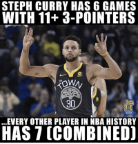 Steph gonna Steph...always.  Your new home, bandwagoners: Warriors Nation: STEPH CURRY HAS 6 GAMES  WITH 11+3-POINTERS  30  WARR  EVERY OTHER PLAYER IN NBA HISTORY  HAS 7 (COMBINED] Steph gonna Steph...always.  Your new home, bandwagoners: Warriors Nation