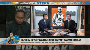 """Memes, Stephen, and Stephen Curry: STEPH ORTLESSCUR F  30  ES  IS CURRY IN THE 'WORLD'S BEST PLAYER"""" CONVERSATION?  Andre Iguodala says Stephen Curry is the 2nd-best PG of all timeThe Athletic Is Steph Curry in the """"world's best player"""" conversation?   😂 @stephenasmith on @FirstTake https://t.co/0Fxi6sNbdp"""