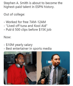 "The come up is real for Stephen A. Smith.  (Via TJDhoops): Stephen A. Smith is about to become the  highest-paid talent in ESPN history  Out of college:  Worked for free 7AM-12AM  ""Lived off tuna and Kool Aid""  Pub'd 500 clips before $15K jolb  Now:  $10M yearly salary  - Best entertainer in sports media The come up is real for Stephen A. Smith.  (Via TJDhoops)"