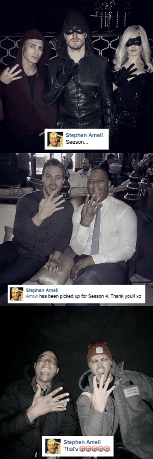 queensarrow:  2014 | 2015 | 2016: Stephen Amel  Season   Stephen Amell  Arrow has been picked up for Season 4. Thank you!! xo   งเ  Stephen Amel  hai's GG queensarrow:  2014 | 2015 | 2016