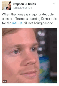 Blackpeopletwitter, Gif, and Head: Stephen B. Smith  @BlackPope101  When the house is majority Republi-  cans but Trump is blaming Democrats  for the #AHCA bill not being passed  GIF <p>So much winning it&rsquo;ll make your head spin (via /r/BlackPeopleTwitter)</p>