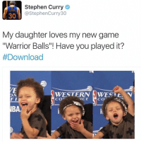 """I finally found Stephen curry game!! This game is LIT AFFFFF OMG! @warriorballs @warriorballs @warriorballs: Stephen Curry  30  @Stephen Curry 30  My daughter loves my new game  """"Warrior Balls""""! Have you played it?  #Download  WESTERN WEST t. N  ON  FI  VCE  CO  CO  IBAe I finally found Stephen curry game!! This game is LIT AFFFFF OMG! @warriorballs @warriorballs @warriorballs"""