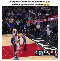 DeAndre Jordan, Nba, and Stephen Curry: Stephen Curry flexed and then got  Laid out by Deandre Jordan  ONBAAPP  State Farm  2ND  1:18  24 🏀 Pure strength 😂 DOUBLE TAP & TAG a friend.🏀 nba nba2k17 nbaplayoffs nbamemes ➡Everyone ADD us on Snapchat 👻 - ballershype ➡TURN ON POST NOTIFICATIONS ➡Follow my other account @ballershype for NBA news, rumours, videos! ➡LIKE us on Facebook (Link in bio!)