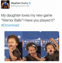 """I finally found Stephen curry game!! This game is LIT AFFFFF OMG! @warriorballs @warriorballs @warriorballs: Stephen Curry  @Stephen Curry 30  30  My daughter loves my new game  """"Warrior Balls""""! Have you played it?  #Download  WESTERN AWEST t. N  ON  FI  VCE  CO  CO  IBAe I finally found Stephen curry game!! This game is LIT AFFFFF OMG! @warriorballs @warriorballs @warriorballs"""