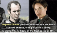 Stannis: Stephen Dillane (Stannis Baratheon) is the father  of Frank Dillane, who played the young  Voldemort Tom Riddle in the flashbacks on HP6.