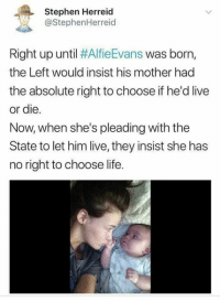 Life, Memes, and Stephen: Stephen Herreid  @StephenHerreid  Right up until #AlfieEvans was born,  the Left would insist his mother had  the absolute right to choose if he'd live  or die.  Now, when she's pleading with the  State to let him live, they insist she has  no right to choose life. (GC)