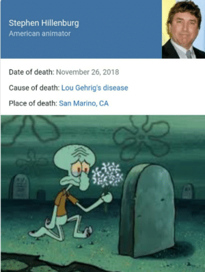 meirl: Stephen Hillenburg  American animator  Date of death: November 26, 2018  Cause of death: Lou Gehrig's disease  Place of death: San Marino, CA meirl