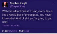Shit, Stephen, and Blue: Stephen King  @Stephen King  With President Forrest Trump, every day is  like a rancid box of chocolates. You never  know what kind of shit you're going to get  next.  3:22 PM 11 Apr 17  21.3K  RETWEETS  44.8K  LIKES Blue Dem Warriors